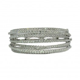 Contemporary Diamond Bangle Bracelet