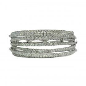 Contemporary Diamond Bangle Bracelet