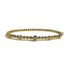 Beaded Bangle Bracelet - Yellow Gold