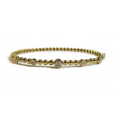 Beaded Bangle Bracelet - Yellow Gold