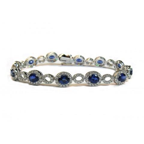 Sapphire and Diamond Link Bracelet