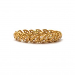 Estate Yellow Gold and Diamond Bracelet