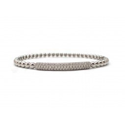 Beaded Pavé Diamond Bangle Bracelet