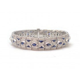 Sapphire and Diamond Antique Style Bracelet