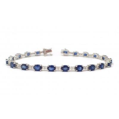 Contemporary Alternating Sapphire and Diamond Bracelet