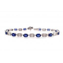 Alternating Sapphire and Diamond Bracelet