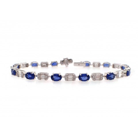 Alternating Sapphire and Diamond Bracelet