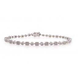 Alternating Round and Square Diamond Bracelet