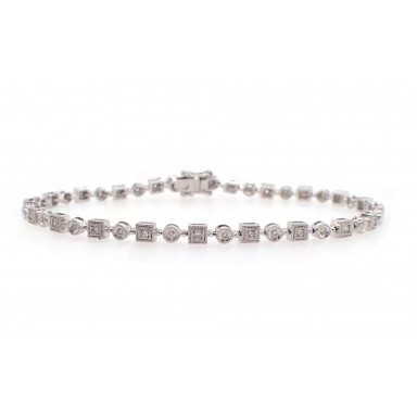 Alternating Round and Square Diamond Bracelet