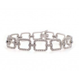Open Square Link Diamond Bracelet