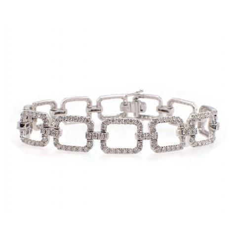 Open Square Link Diamond Bracelet