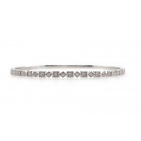 Alternating Diamond and Square Bangle Bracelet