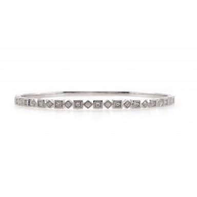 Alternating Diamond and Square Bangle Bracelet