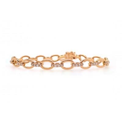 Yellow Gold Oval Link Diamond Bracelet
