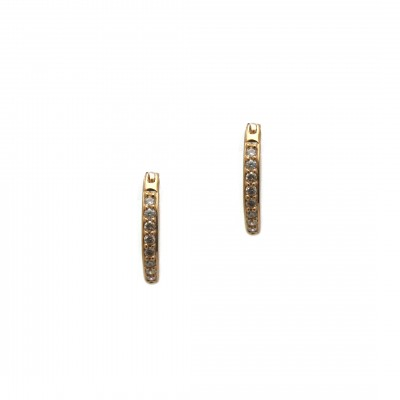 Diamond Hoop Huggie Earrings - Rose