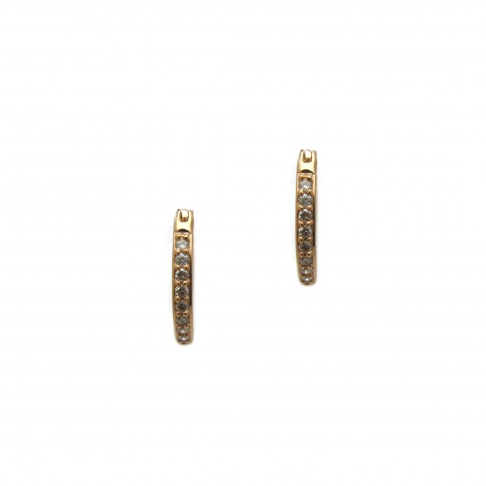 Diamond Hoop Huggie Earrings Rose
