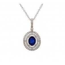 Sapphire and Diamond Double Halo Necklace
