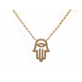 Hamsa - Yellow Gold and Diamond Hand
