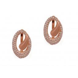 Rose Gold Oval Diamond Earrings