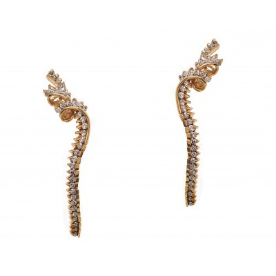 Jose Hess Yellow Gold Diamond Dangling Earrings