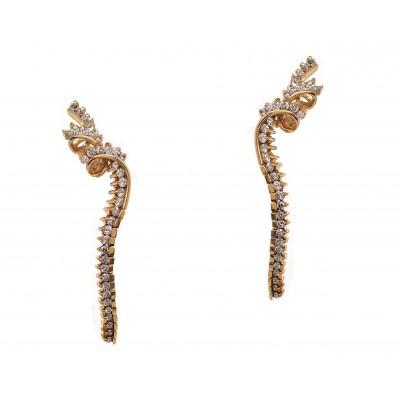 Jose Hess Yellow Gold Diamond Dangling Earrings