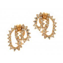 Yellow Gold Diamond Lace Earrings