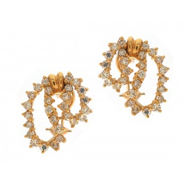 Yellow Gold Diamond Lace Earrings