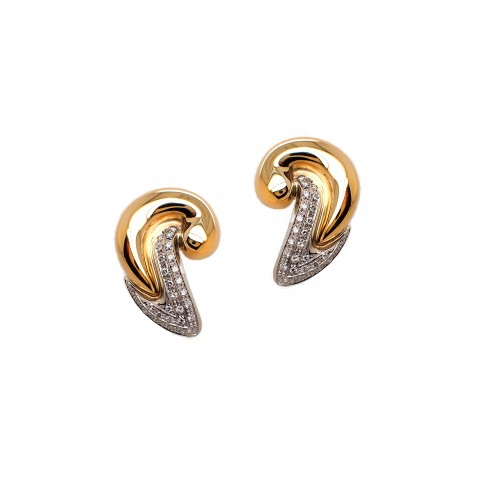 "Estate Yellow Gold and Diamond ""C"" Earrings"