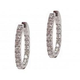 Split Prong Diamond Hoop Earrings