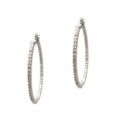 Diamond Hoop Earrings - 1 Inch Round