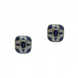 Art Deco Inspired Sapphire Earrings