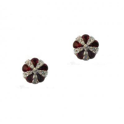 Ruby and Diamond Pinwheel Earrings