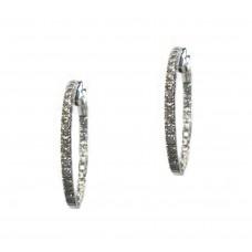 Diamond Hoop Earrings - 34mm Elongated