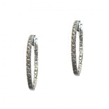 Diamond Hoop Earrings - 34mm Elongated