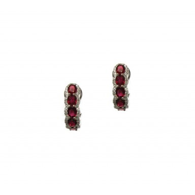 Ruby and Diamond Hoop Earrings