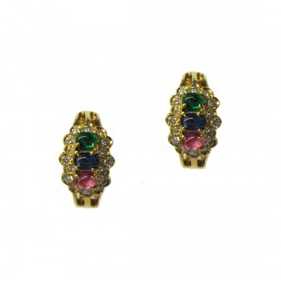 Estate Multi-colored Cabochon Earrings