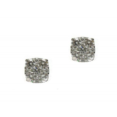 Cushion Shape Cluster Earrings