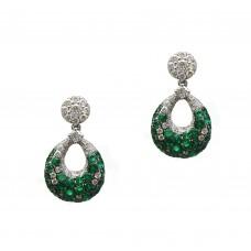 Emerald and Diamond Drop Earrings