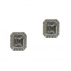 Baguette Halo Diamond Earrings