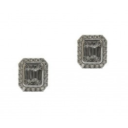 Baguette Halo Diamond Earrings