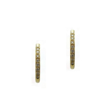 Diamond Hoop Huggie Earrings - Yellow