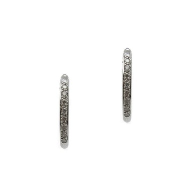 Diamond Hoop Huggie Earrings - White