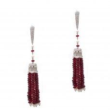 Ruby Tassel Earrings