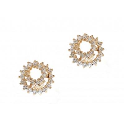 Yellow Gold Diamond Swirl Earrings