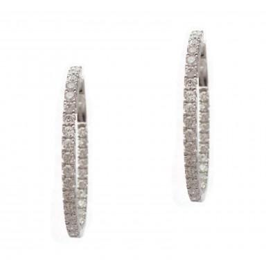 Diamond Hoop Earrings - 30mm Elongated