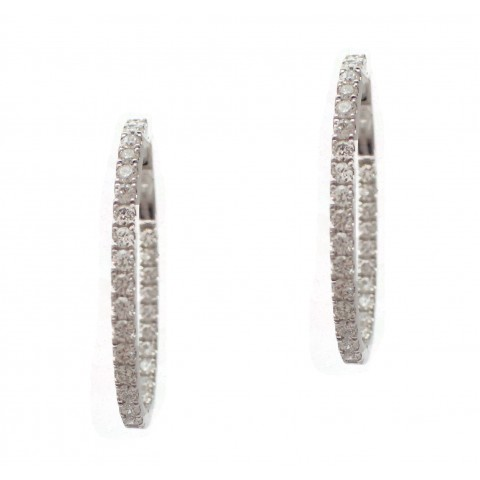 Diamond Hoop Earrings - 30mm Elongated