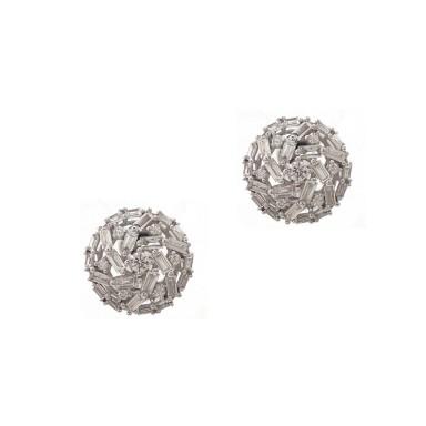 Baguette and Round Diamond Swirl Earrings