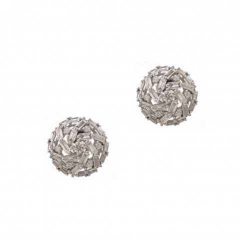 Baguette and Round Diamond Swirl Earrings