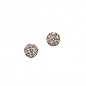 Rose Gold Round Diamond Cluster Earrings