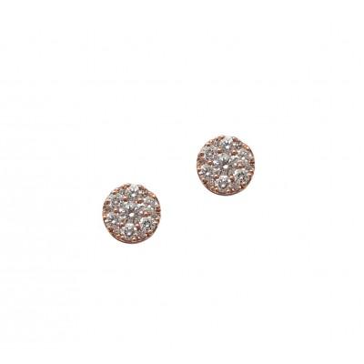 Rose Gold Round Diamond Cluster Earrings